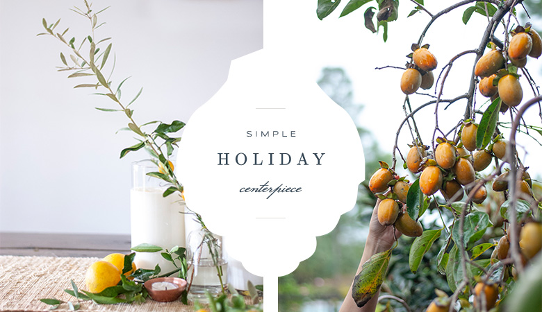 Tallahassee Branding Photographer Holiday centerpiece using kumquats and rosemary