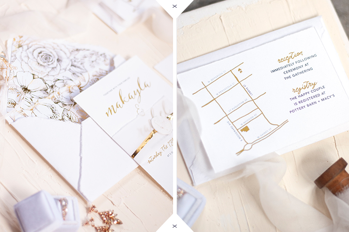 Luxury Handmade Wedding Invitations | White and gold Wedding Invitations | Tallahassee Wedding Invitations