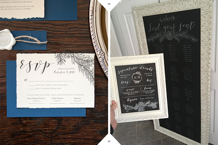 rustic wedding invitations and chalkboard wedding signs