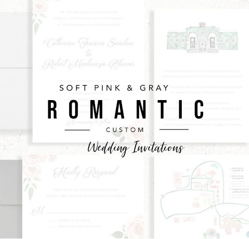 Rose Pink and Gray Wedding Invitations