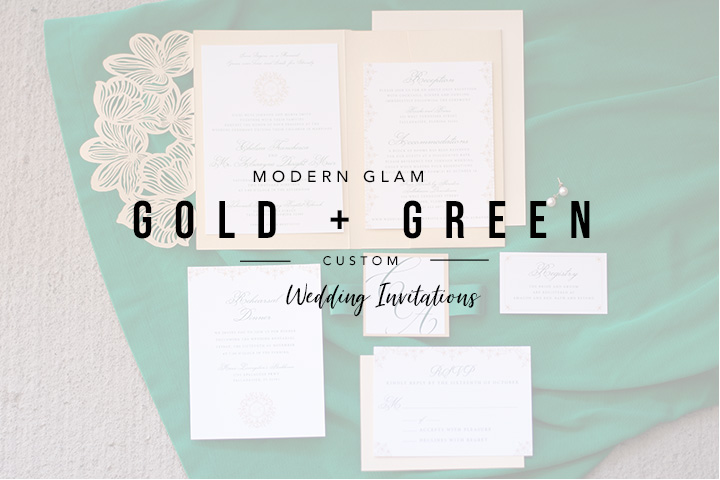 Gold and Green Wedding Invitations in Tallahassee