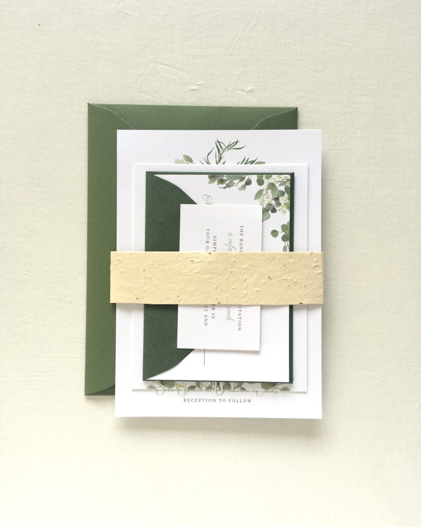 Seed Paper Belly Band | Earth Friendly Wedding Invitations | Poppie Studios